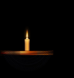 burning candle with stand and black veil vector image vector image