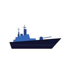 flat style icon of blue warship battleship vector image