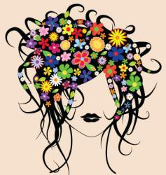floral hair vector image