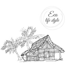 house under palm trees with thatched roof in the vector image vector image