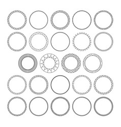 Set of round decorative patterns framework vector