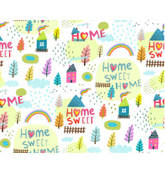 slogan home sweet home seamless background vector image vector image