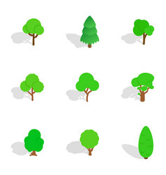 trees icons isometric 3d style vector image