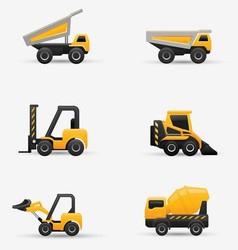 Truck forklift bulldozer set vector