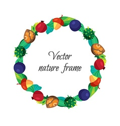 Vintage nuts berry fruits frame with leaves vector image