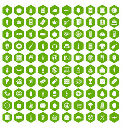 100 lunch icons hexagon green vector image