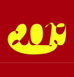 2019 in abstract style yellow and red new year vector