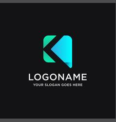 Abstract letter k link digital technology logo vector