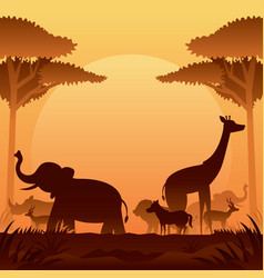 african safari animals silhouette background vector image