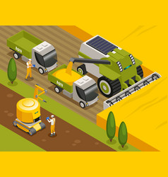 Agricultural robots isometric composition vector