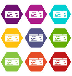 airline boarding pass icon set color hexahedron vector image