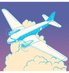Airplane in clouds vintage retro travel vector