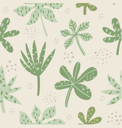 aralia and palm leaves hand drawn seamless pattern vector image