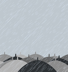 Autumn background with rain and umbrellas vector image
