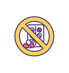 avoiding antibiotics rgb color icon vector image