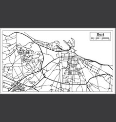 bari italy city map in retro style outline map vector image