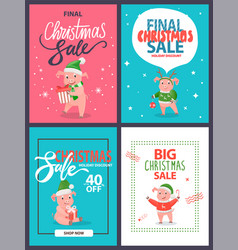 big christmas sale holiday discount postcards set vector image