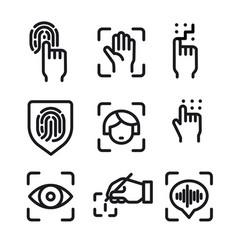 biometric identification icons vector image
