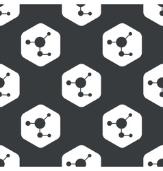 Black hexagon molecule pattern vector