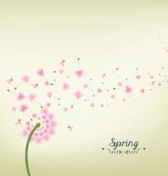Blossom dandelions into spring vintage vector image