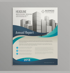 Brochure design template with blue wavy shapes in vector