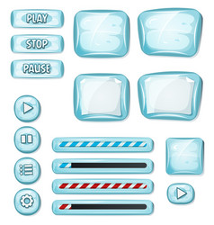 Cartoon icy elements for ui game vector