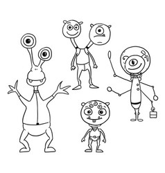Cartoon set 04 of friendly aliens astronauts vector