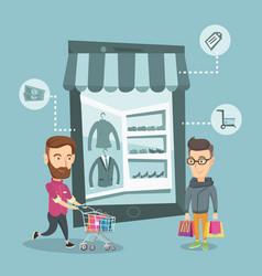 Caucasian men doing online shopping vector