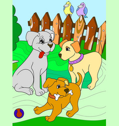 Children color book cartoon family on nature mom vector
