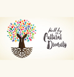 Cultural diversity day card human hand tree vector