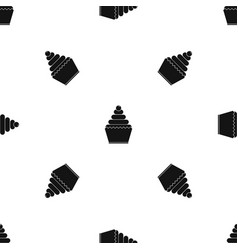 cupcake pattern seamless black vector image