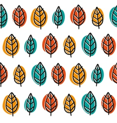 Cute doodle seamless pattern with bright leaves vector image