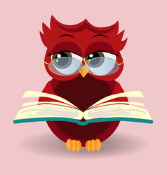 cute owl in eyeglasses with graduation cap vector image