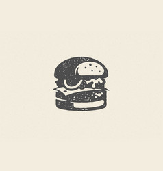 engraving burger silhouette with texture hand vector image
