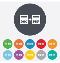 Export DOC to PDF icon File document symbol vector