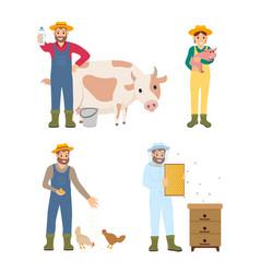 farmer man and woman icon set vector image