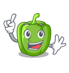 finger green bell peppers isolated on mascot vector image
