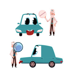 flat doctor mechanic car with eyes vector image