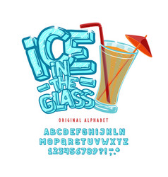 font ice in glass vector image