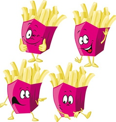French fries cartoon with hand gesturing isolated vector image