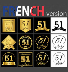French set of number 51 templates vector