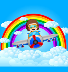 Funny pilot riding plane with rainbow scenery vector