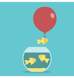 Gold fish balloon fishbowl vector