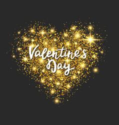 gold glitter heart on dark background valentines vector image