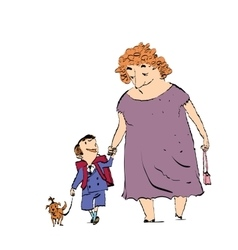Grandma grandson and dog on a walk vector