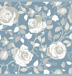 Gray pattern with big white roses vector