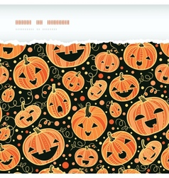 Halloween pumpkins horizontal torn frame seamless vector image