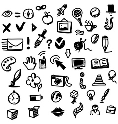 Hand drawing sketch icon set of different objects vector image vector image