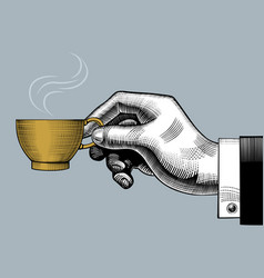 hand with a coffee cup vector image