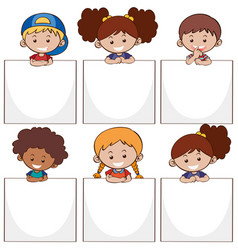 happy kids and white papers vector image